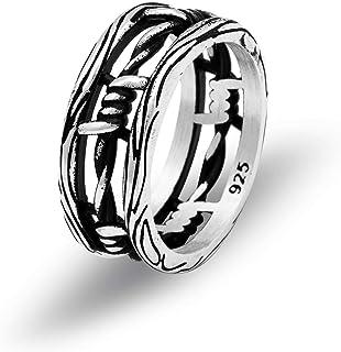 خاتم رجالي من الفضة الإسترلينية الصلبة بتصميم أسلاك شائك من تشيكوتا