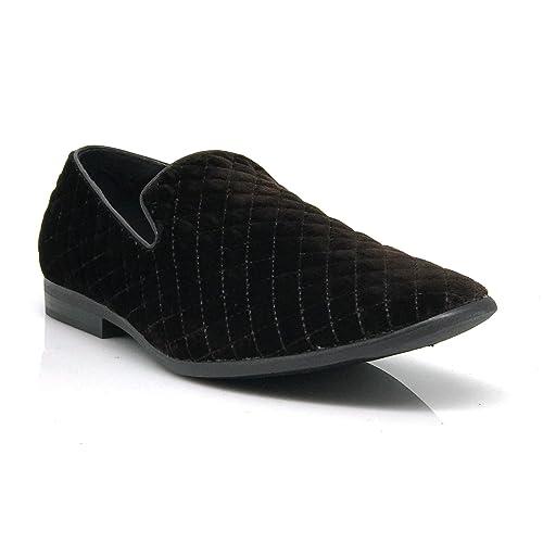 501f4f58f02 Enzo Romeo Harell05 Men s Vintage Velvet Dress Shoes Classic Tuxedo Slip On  Loafers