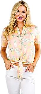 Women's Bright Hawaiian Shirt for Summer - Tropical Tie Front Top Aloha Shirts