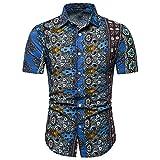 Camisa para Hombre Slim Fit Verano Nuevo Estampado para Hombre Manga Corta Stretch Casual Moderna para Hombre Camisas Casuales Moda Cuello Kent para Hombre Camisa Henley A-Blue L