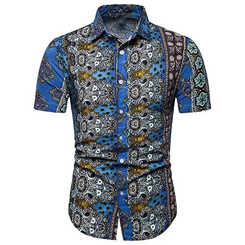 Camisa Hombre Slim Fit Print Kent Collar Hombre Manga Corta Verano Moda Casual Elasticidad Cómodo Urbano...