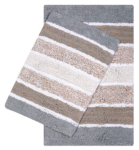 Quilted Stripe Luxury Bath Rug Set of 2, Mat Set, Soft Plush Anti-Skid Shower Rug +Toilet Mat.Quilted Rugs, Super Absorbent mats, Machine Washable Bath Mat,Size 21x32-17x24 Spa Grey-Beige