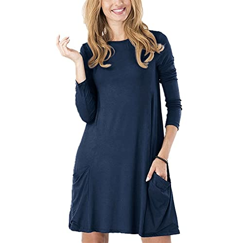 bea50d6a Women's Casual Pockets Plain Simple T-Shirt Tunic Loose Dress