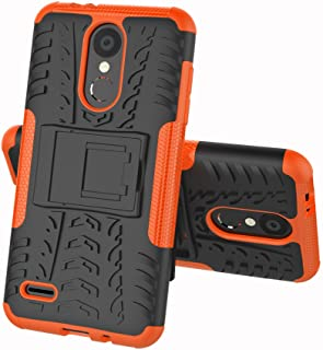 LG Zone 4 Case,LG Aristo 2/3, LG Phoenix 4, LG Tribute Empire/Dynasty SP200,LG Fortune 2,LG Risio 3,LG K8 2018 Case, Folice Hybrid Rugged Dual Layer Protective Case Cover with Kickstand (Orange)