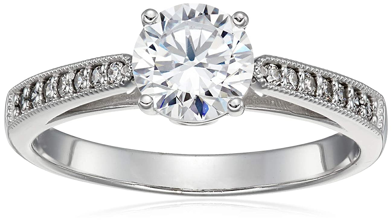 14k White Gold Milgrain CZ Engagement Ring Round Solitaire Cubic Zirconia 1.5ct.