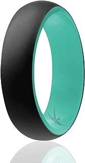 ROQ Anillo de boda de silicona para mujer, asequible, 4 unidades de anillos de goma de silicona, estilo cúpula, 2 colores, purpurina, mármol, metálico, mate, seguro, flexible, ligero con diseño clásico