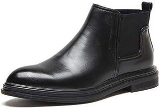 FUNPLUS Hommes Chelsea Bottes Printemps Hiver en Cuir Robe de mariée Chaussures Homme Bottines Style Britannique sans Lace...