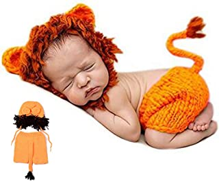 1 Pack Newborn Photography Costume Cute Cartoon Lion Sleeping Hat and Pants Baby Crochet Knitted Outfit Costume Funny Design Photo Props for Baby(Orange)