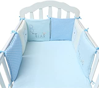 Hengfey Cotton Baby Crib Bumpers Breathable Cradle Bedding Bumper 6 PCS Blue