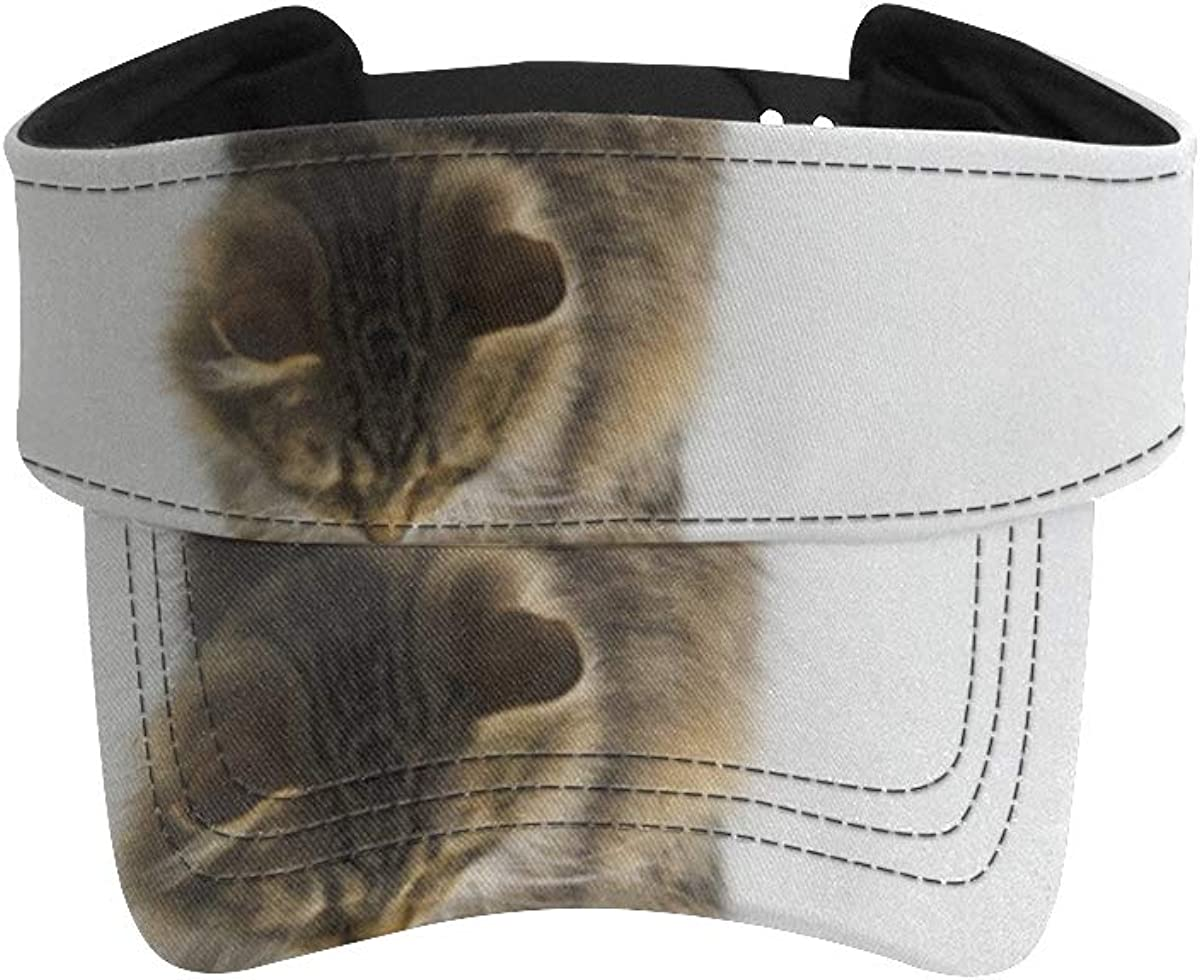 Sun Visor Hat Curious NEW before selling Tabby Stretching Body Directly managed store Colored with Cat