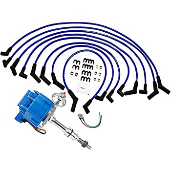 amazon.com: a-team performance 65k coil complete hei distributor, spark  plug wires, and pigtail harness 3 in 1 kit — compatible with ford 351w  windsor 7500 rpm 351w — one wire installation blue cap: automotive  amazon.com