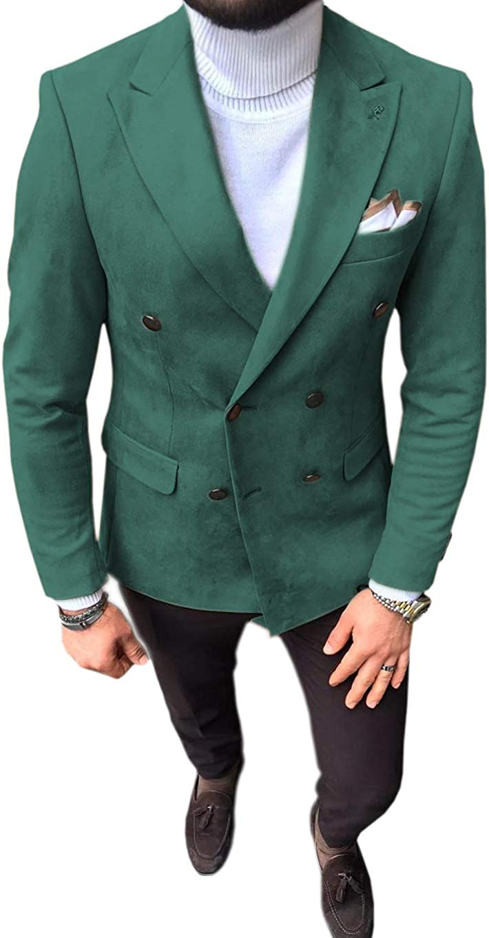 Mens Suit Blazer Leather Double Breasted Suede Wear Coat Slim Fit Single Jacket