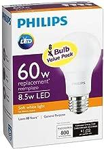 Philips 455576 60W Equivalent 2700K A19 LED Light Bulb, Soft White (2-Pack)