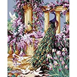 Tonzom Wooden Framed Paint by Number Kits DIY Canvas Oil Painting for Kids, Students, Adults Beginner – Peacock and Flower 16x20 inch with Brushes and Acrylic Pigment