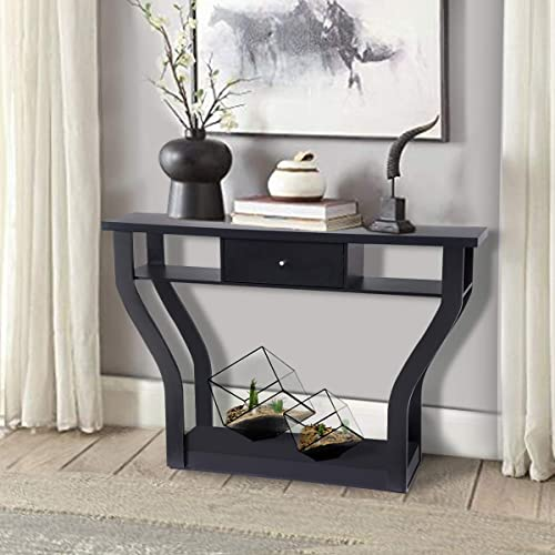 new arrival Giantex Console Hall Table for Entryway Small Space Sofa Side Table with Storage Drawer online and Shelf Home Office Living Room Furniture Narrow Accent 2021 Hall Table (Black) online