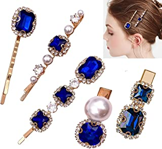 5 Pcs Vintage Crystal Pearl Gold Bobby Hair Pins - Decorative Side Hair Clips Accessories for Women Hair Styling (Sapphire...
