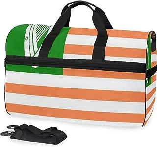 Gym Yoga Bag Gallery Irish American Flag Travel Overnight Luggage Foldable Duffle Bag for Women Men 45L
