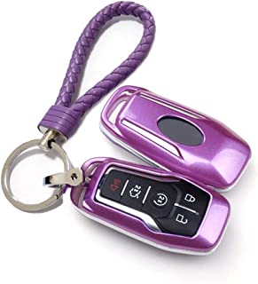 Thor-Ind ABS Car Key Fob Case Cover Key Chain for Ford Taurus Mustang F-150 F-450 Explorer Fusion Edge Lincoln MKC MKZ MKX 4/5-Button Smart Key Glossy Plastic Protective Shell (Purple)