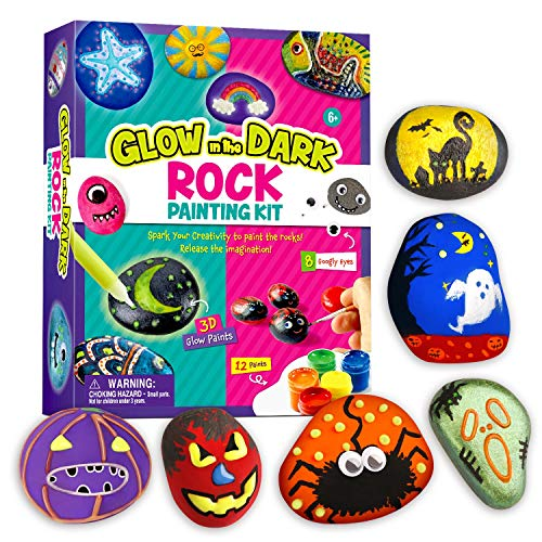 XXTOYS Halloween Rock Painting Kit for Kids - Arts and Crafts for Girls & Boys - Glow in The Dark Rock Painting - Craft Art Kit -Hide and Seek Activities, Great Craft Creative Gift for Ages 4-8