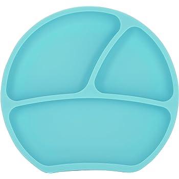 Tovaglietta Antiscivolo Per Seggiolone Silicone Alimentare Tre Scomparti Va in Lavastoviglie Bambini 6 18 Mesi Arancio Piatto Pappa Neonato con Ventosa di 2a Generazione
