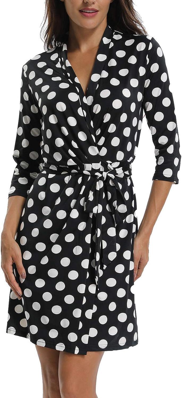 Anienaya Women's 3 4 Sleeves Sleeveless Credver V Neck Polka Dots Above Knee Wrap Summer Dress w Tie Waist