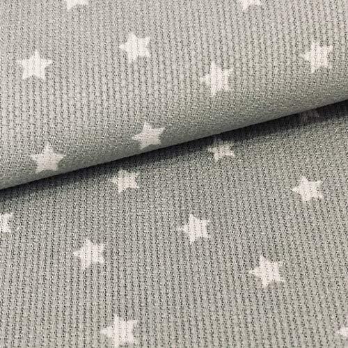 Tela de Pique Canutillo Estrellas Gris, 100% Algodón. Ancho 1.50 Mtrs. 1 Mtr.