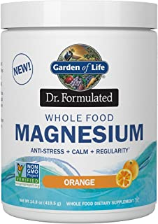 Garden of Life Dr. Formulated Whole Food Magnesium 419.5g Powder - Orange, Chelated, Non-GMO, Vegan, Kosher, Gluten & Suga...