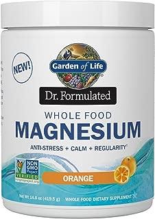 Garden of Life Dr. Formulated Whole Food Magnesium 419.5g Powder - Orange, Chelated, Non-GMO, Vegan, Kosher, Gluten & Sugar Free Supplement with Probiotics - Best for Anti-Stress, Calm & Regularity