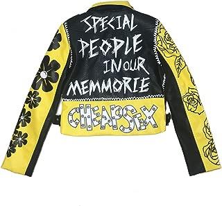 Women Leather Jacket Yellow Short Crop Jackets and Coats Punk Motorcycle Jacket