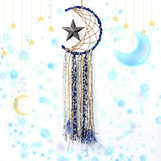 TEESHLY Moon Star Dream Catcher Handmade Crescent Shape Dreamcatchers for Wall Decor, Blue Feather Hanging Ornament for Home Decoration Festival Gift