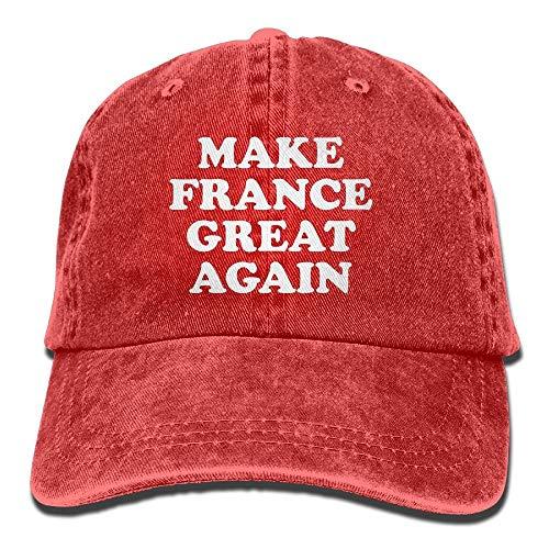 FAVIBES Make France Great Again Maman Chapeau Casquette de Baseball Casquette de Camionneur Lavé Denim Coton Ajustable Rouge