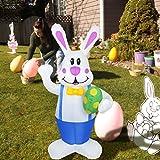ExH Modelo inflable,Conejito Inflable 1.9m Conejito de Pascua Inflable LED Figura de Luz Nocturna Muñeca de Conejo de Pascua Inflable Decoración de Adorno de Fiesta se Jardín Al Aire Libre