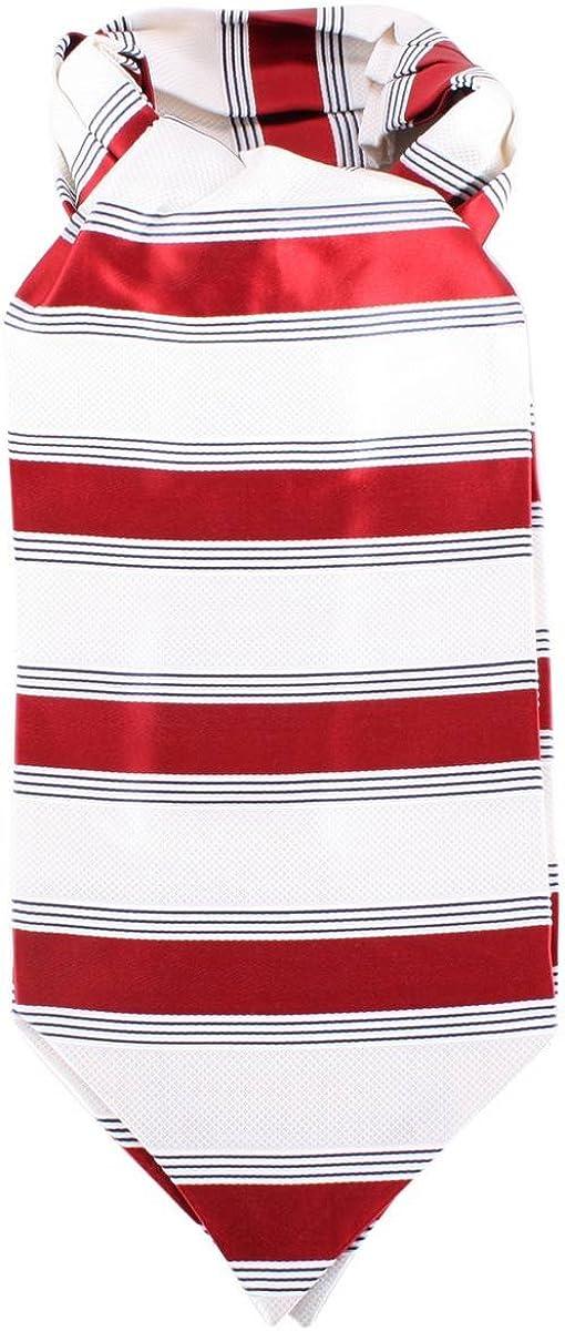 Knightsbridge Neckwear Mens Striped Silk Cravat - Red/Cream