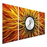 Psychedelic Clock Metal Art - Modern Decor for Living Rooms and Kitchens - Orange Abstract Outdoor Decorations in 24' x 49'