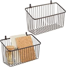 mDesign Portable Metal Farmhouse Wall Decor Angled Storage Organizer Basket Bin for Hanging in Entryway, Mudroom, Bedroom,...