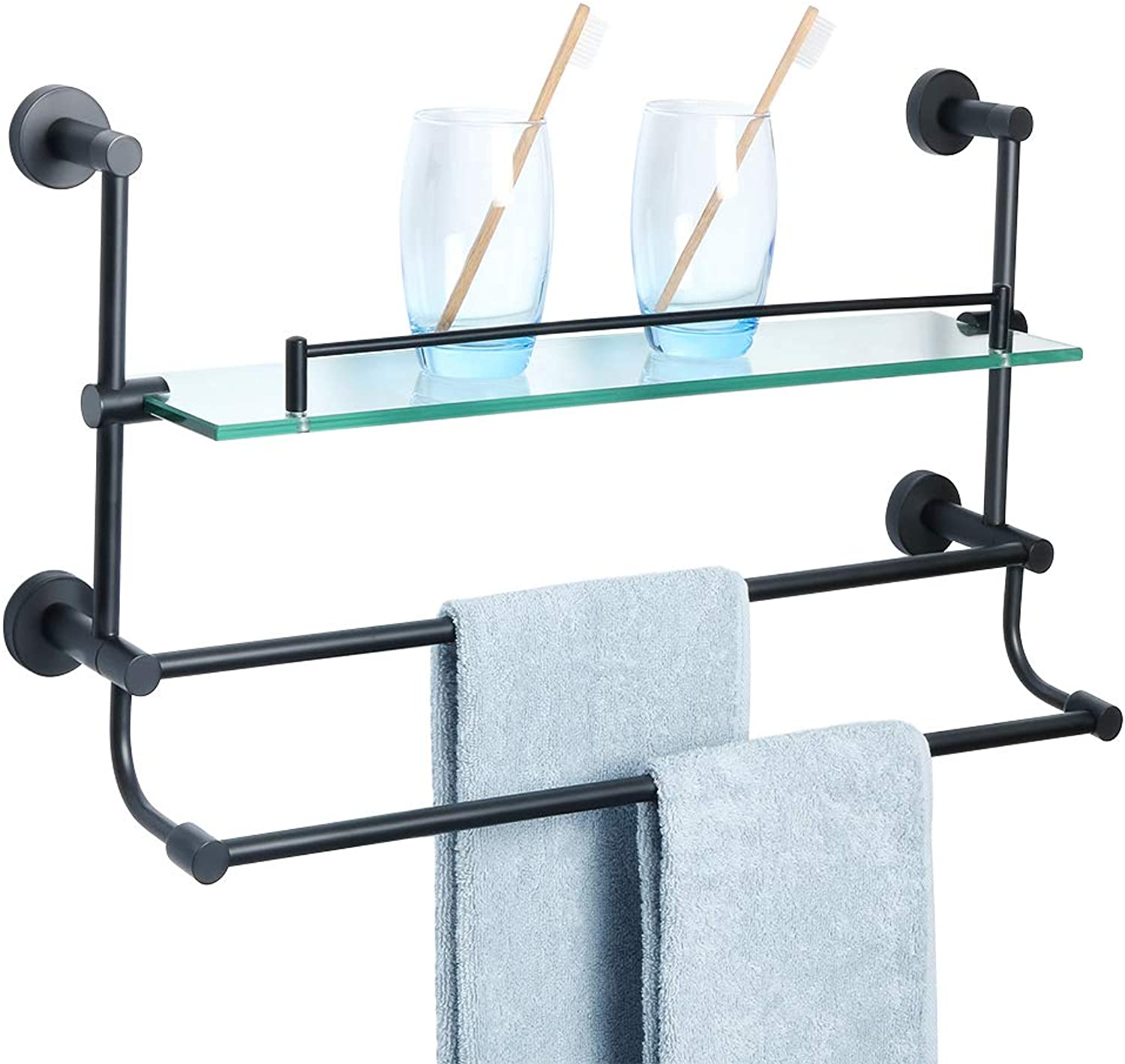 Alise Bathroom Shelf SUS 304 Stainless Steel Shower Glass Shelf with Double Towel Bar Rail Towel Rack Wall Mount,Matte Black GY9800-B