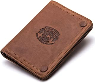 Brown Leather Wallet Men Bifold - Slim Wallet RFID Front Pocket Minimalist Wallet - Money Clip Wallets for Men with ID Win...