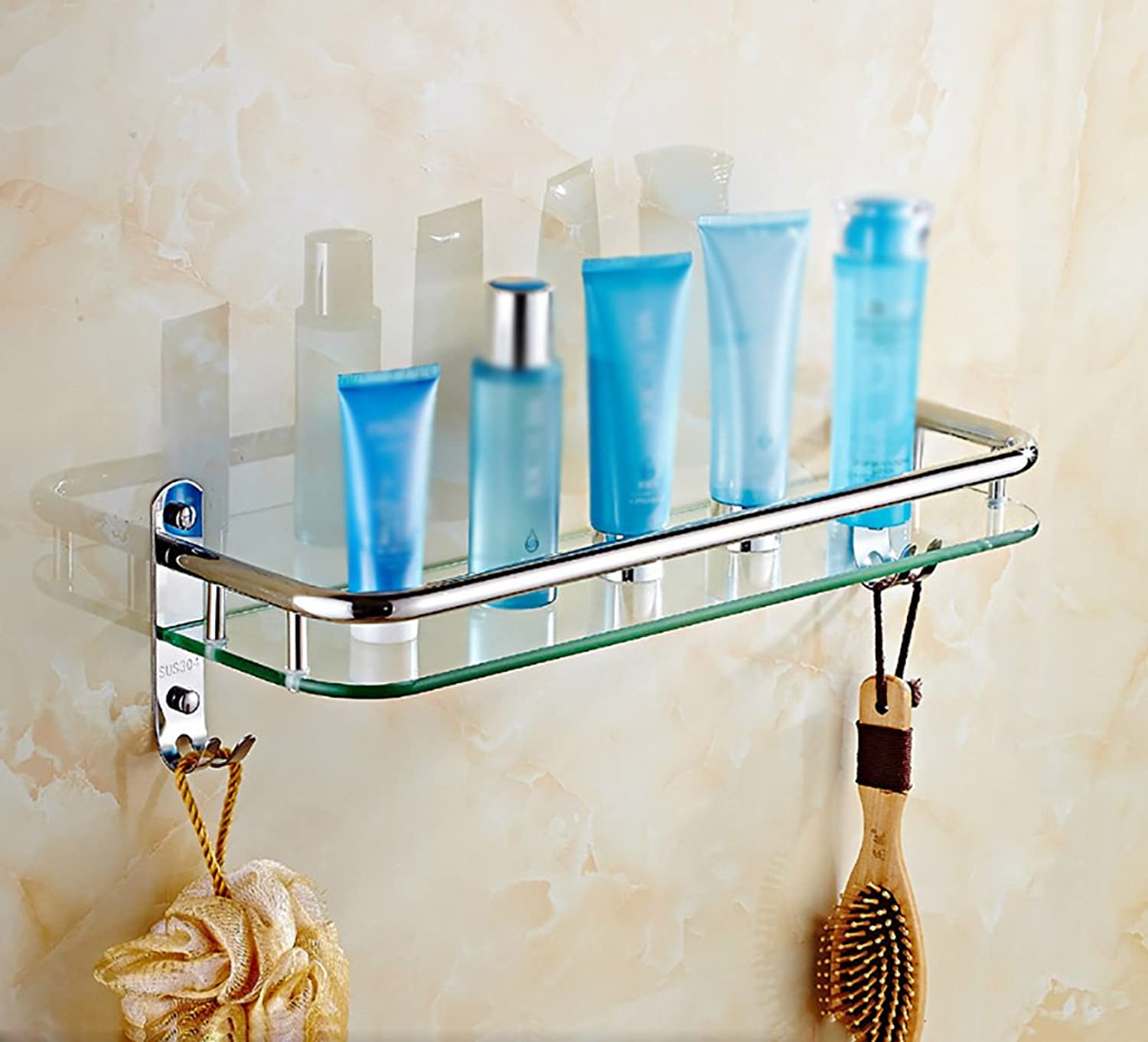Bathroom Shelves Bathroom Glass Rectangular Shelf Wall Mounted Tempered Glass Extra Thick, Bright Section (Size   4113.513.5cm)