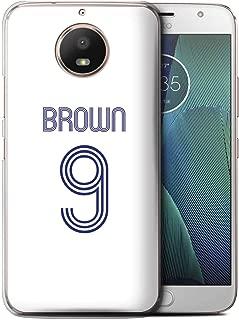 Personalized Custom Soccer Club Jersey Shirt Kit Case for Motorola Moto E4 2017 / White Blue Design/Initial/Name/Text DIY Cover