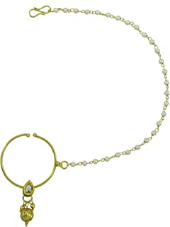 Banithani Goldtone Nose Chain Ring Traditional Nath Hoop Jewelry Gift for Her