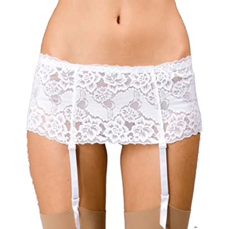 Red or Black White Details about  /Silky Wide Lace Suspender Belt