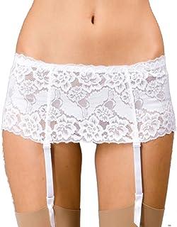 Camille Womens Ladies Underwear Silky White Narrow Lace Suspender Garter Belt