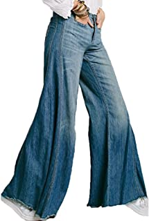 820be59fb172a9 Zhiyuanan Donna Jean Pantaloni A Zampa di Elefante O Jeans Palazzo Larghi  Elasticizzati Comodo Denim Pantaloni