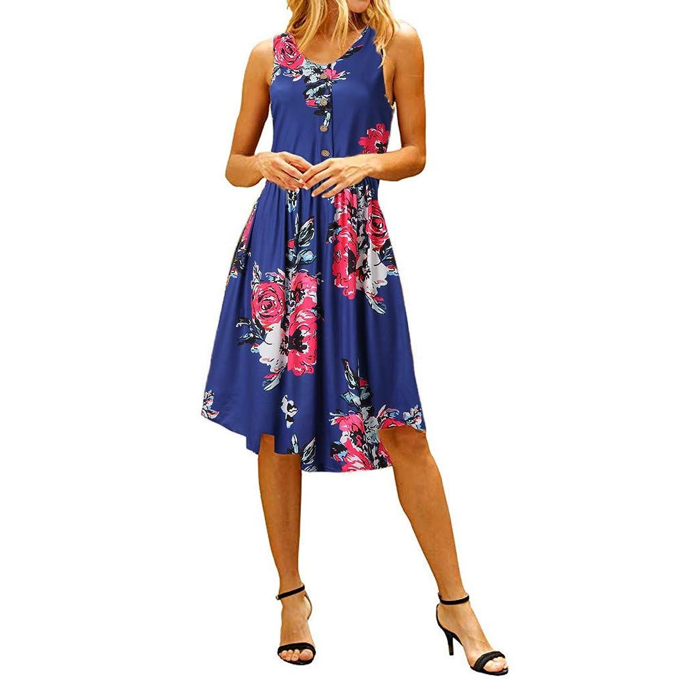 Big Sale,Yetou?Women's Summer Vintage Floral Print Fashion Sleeveless Dress Casual Print Crew Neck Dres