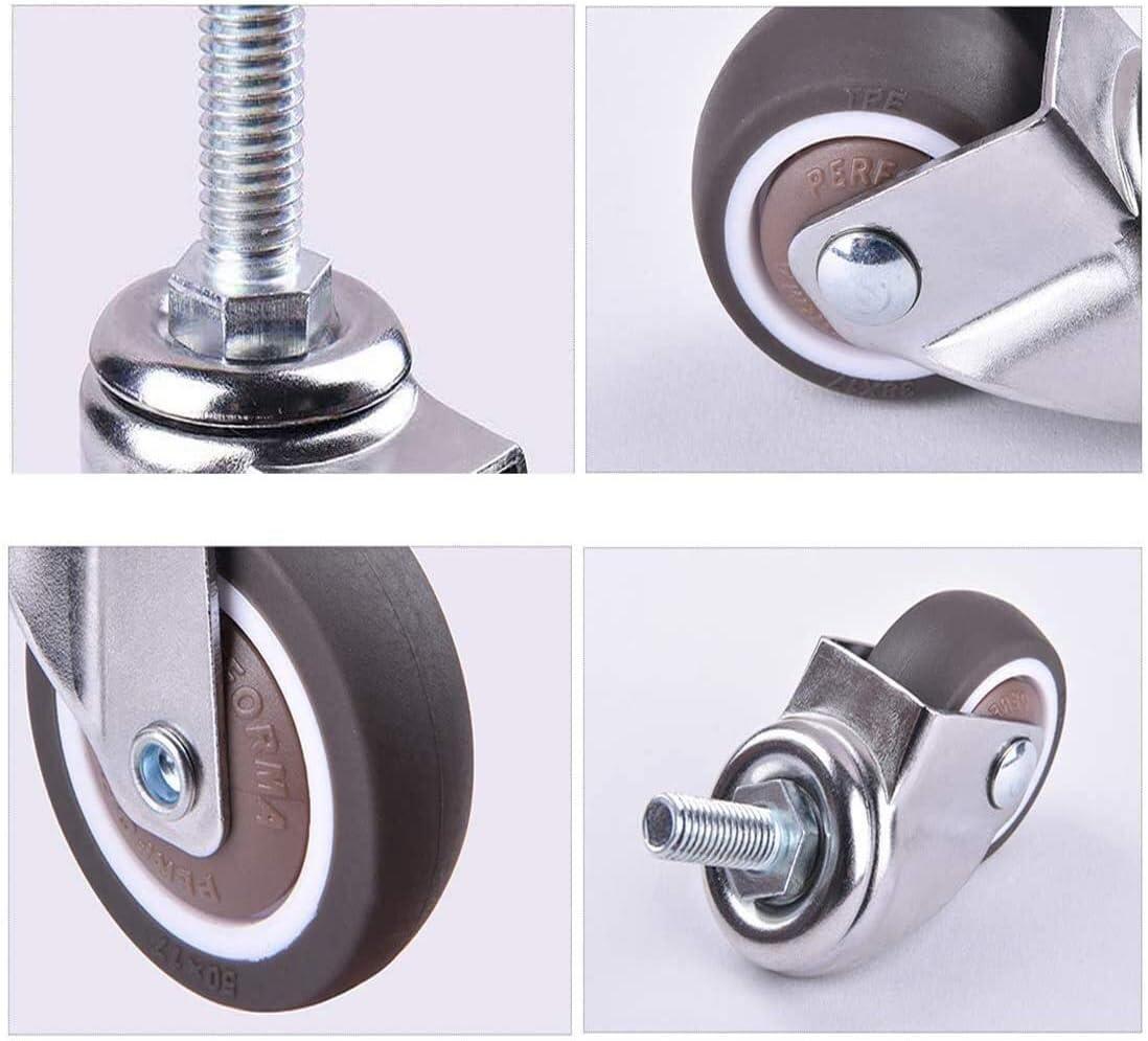 Casters Swivel Wheels for Furniture,M10x25mm Threaded Stem Bolt Moving Wheels,Small Castor Wheels,Trolley Wheels with TPE Rubber,Heavy Duty Castors,4Pcs
