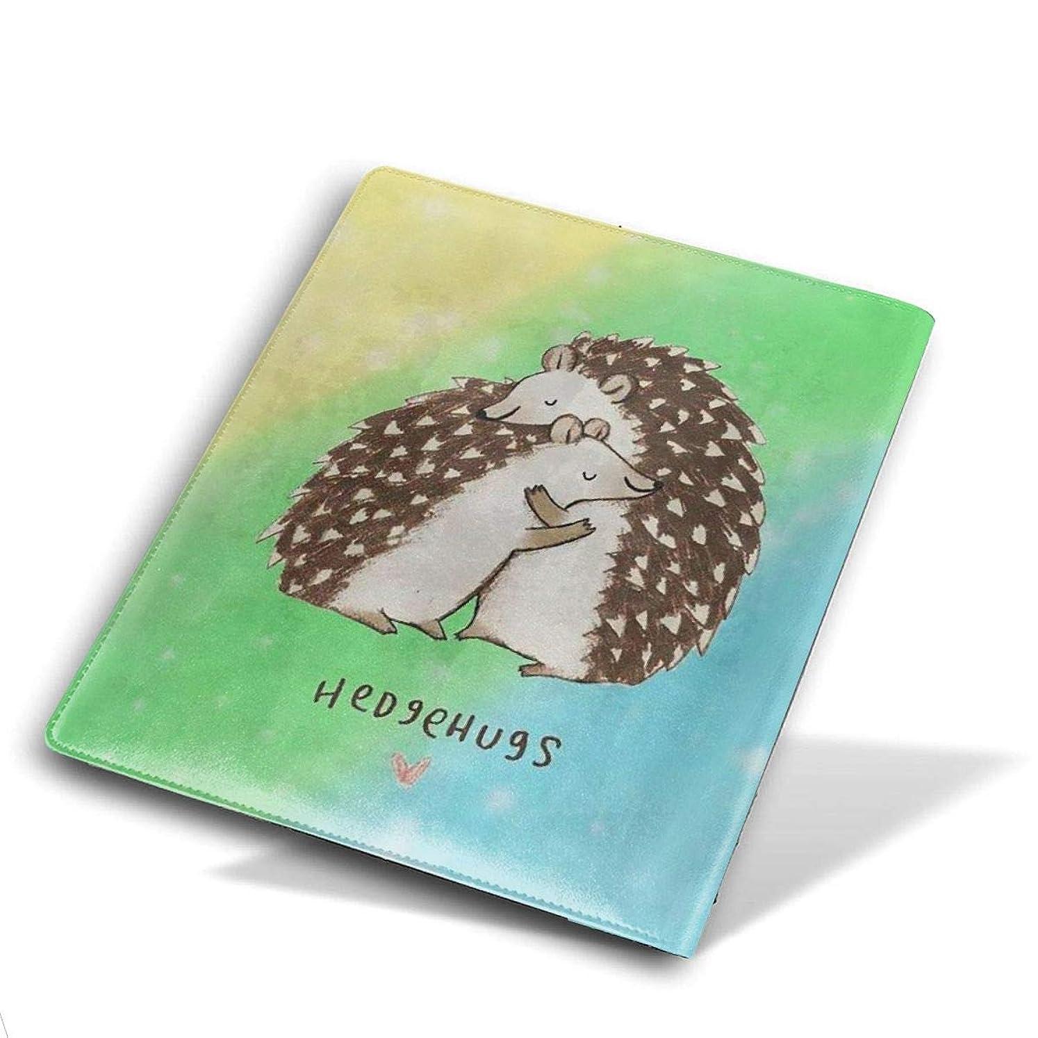 潜む上記の頭と肩植生ユニセックス ブックカバー 文庫カバー かわいい漫画のプリント 教科書 学校用 Size 28*51 Cm Rainbow Background Hedgehugs ハリネズミ