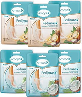 Amope Pedimask 20 Minute Foot Mask Combo Pack, 3x Coconut Oil & 3x Macadamia Oil -Blend of Moisturizer & Essential Oil to Rejuvenate & Soothe For Baby Smooth Feet In Minutes, No Mess Hydration, 6 Pack