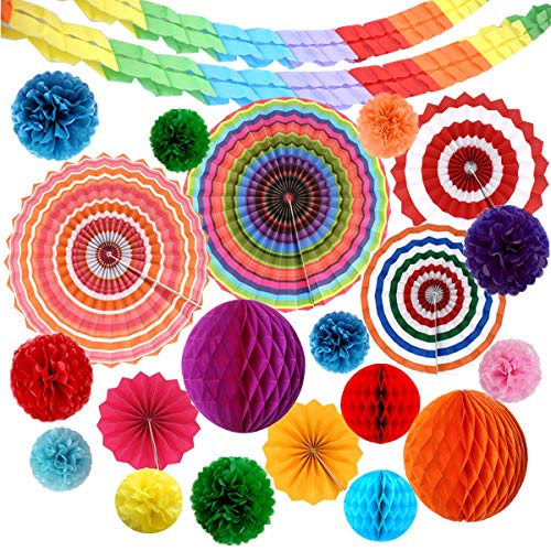 Hanging Paper Fans Colourful,Tianher 22pcs Birthday Party Decorations Pom Poms Flower Honeycomb Balls Four Leaf Tissue Paper Garland for Bridal Showers Baby Showers Wedding