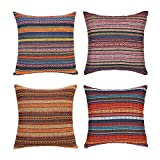 Merrycolor Decorative Throw Pillow Cover for Couch Sofa Bed Bohemian Retro Stripe Cotton Blend Linen...