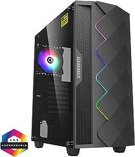 GameMax Black Diamond ARGB Mid Tower PC Gaming Gehäuse, ATX, 3 poliger Aura Stecker und Buchse, integrierter ARGB LED Streifen, 1 x 120 mm ARGB Lüfter inklusive, wasserkühlend geeignet, Schwarz